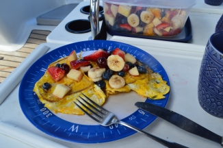 Sailors breakfast. Fruit salad on french toast..
